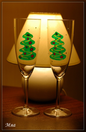 новогоднее оформление бокалов