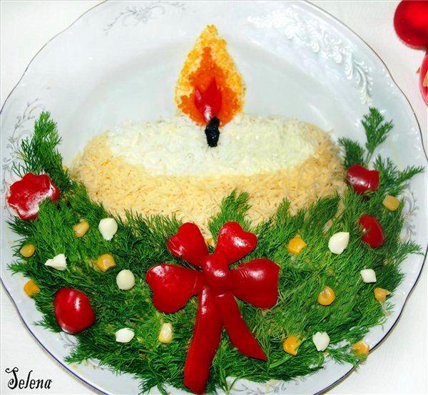 рождественская свеча салат