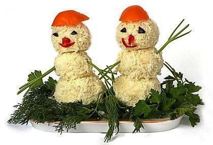 салат снеговики